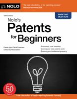 Nolo's patents for beginners Book cover